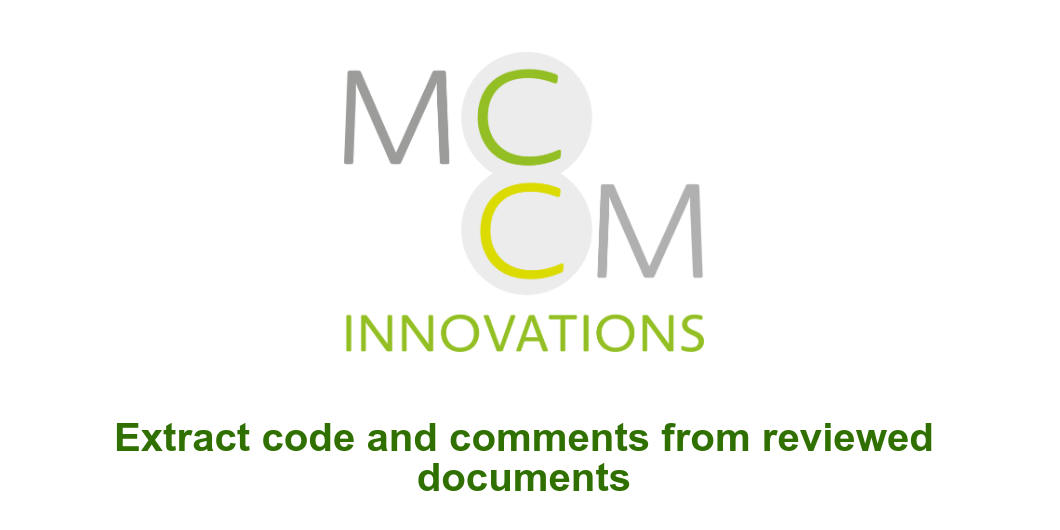Extract code and comments from reviewed documents